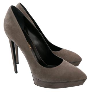 Saint Laurent Janis �600 Grey Suede Platform Heels New Dustbag