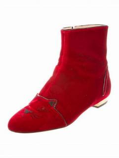 Charlotte Olympia Red Velvet Kitty Chelsea boots