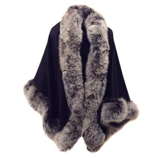 N.Peal Fox trimmed Black Cashmere Cape