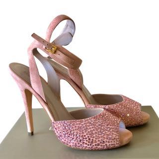 Elie Saab embellished pink suede sandals