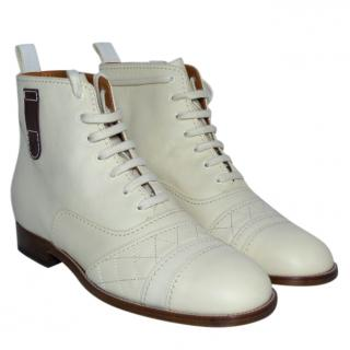 Chanel Ivory Leather Cc Logo Lace Up Ankle Combat Boots