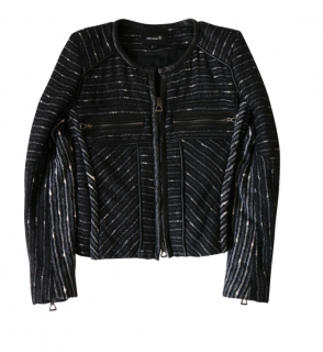 Isabel Marant Etoile Wool Mix Boucle Leather Trim Biker Jacket