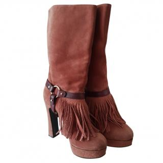 Just Cavalli Fringed Suede Boots