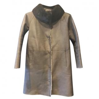 Yves Salomon Mink Collar Winter Coat