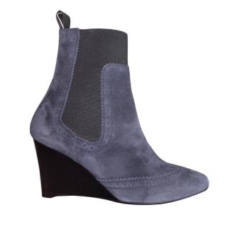 Balenciga Blue Suede Wedge Ankle Boots