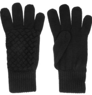 Bottega Veneta Intrecciato black wool gloves