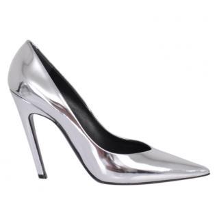 Balenciaga Slash Heel Silver Pumps