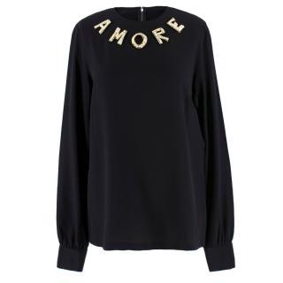 Dolce & Gabbana Silk 'Amore' Embellished Top