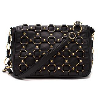 Dior Vintage Black Leather Gold Ring Bag