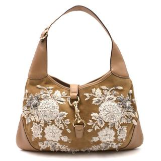 Gucci Tan Suede & Leather Floral Bead Embellished Hobo Bag