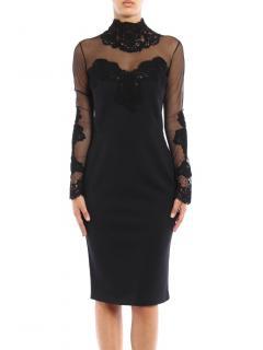 Ermanno Scervino Black Sheer Panel Fitted Dress