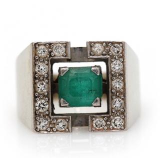 Bespoke Emerald and diamond white gold art deco ring