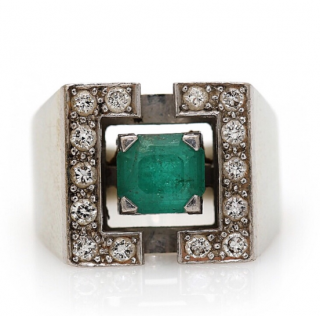 Bespoke Emerald and diamond white gold art deco ring