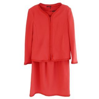 Emporio Armani Red Ribbon Frill Trim Dress & Jacket Suit