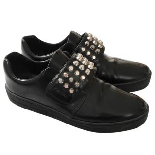 Prada Black Gloss Leather Studded Loafers
