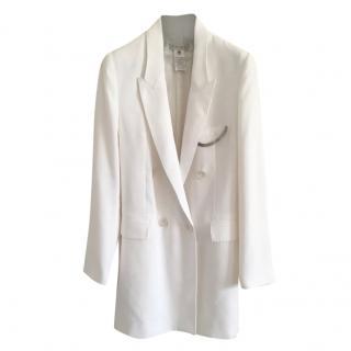 Celine white longline silk blend jacket