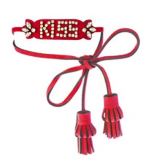 Shourouk Leather and Swarovsky Red Kiss Bracelet