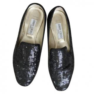 Jimmy Choo Black Sequin Loafers