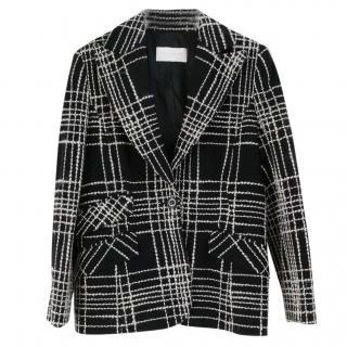Valentino Black & White Flocked Wool Plaid Tailored Jacket