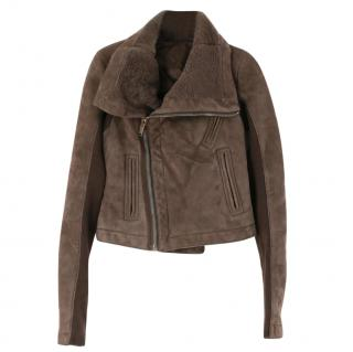 Rick Owens DNA Dust Suede/Shearling Biker Jacket