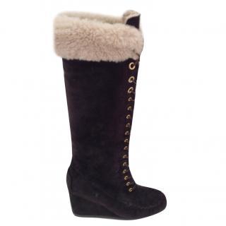 Mui Mui Brown Shearling Boots
