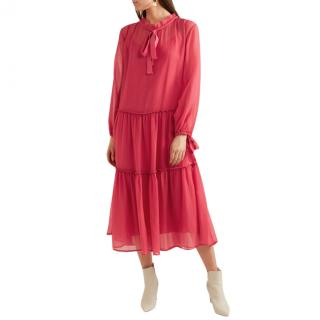 See By Chloe Raspberry Silk/Cotton Crepon Maxi Dress