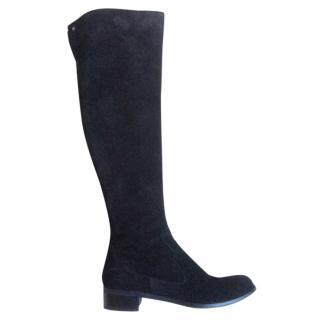 Black suede over knee boots