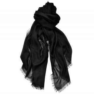 Ralph Lauren Collection black silk-cashmere blend scarf