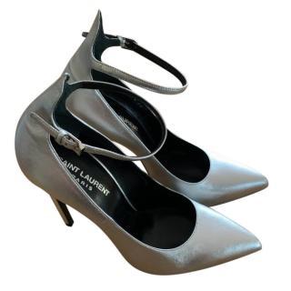 Saint Laurent Silver Stiletto Ankle Strap Sandals