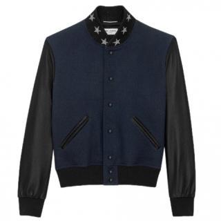 Saint Laurent Navy America Varsity Teddy Jacket
