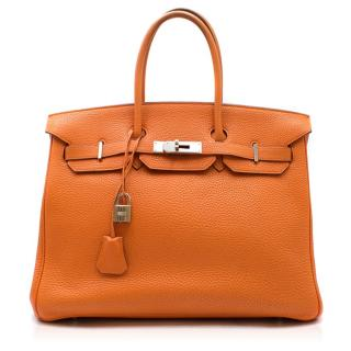 Hermes Clemence Leather 35cm Orange Birkin Bag