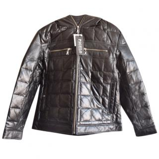 Pagelo black leather down jacket