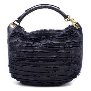 Jimmy Choo Navy Leather Fringed Shoulder Bag