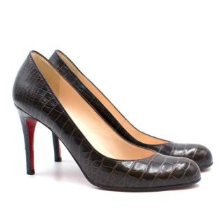 Christian Louboutin 85 Croc Embossed Pumps