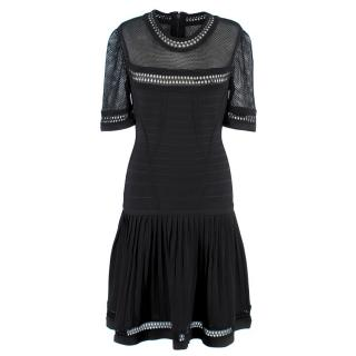 Herve Leger Black Crochet Panelled Dress