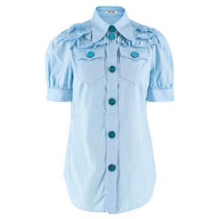 Miu Miu Blue Ruffle Detail Short Puffed Sleeved Shirt