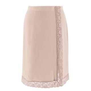 Burberry Silk & Lace Nude A-line Skirt