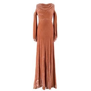 Ghost Pink Velvet Cold-shoulder Maxi Dress