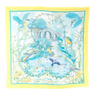 Hermes Pond Scene Silk Scarf