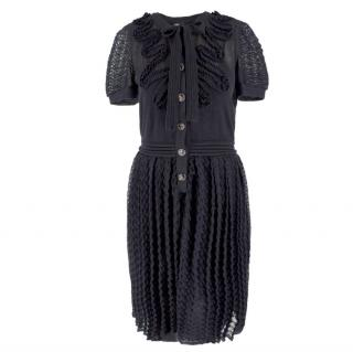 Chanel Pleated Weave Applique Detail Tea Dress