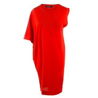 Balenciaga Knits Red Draped Oversize Dress