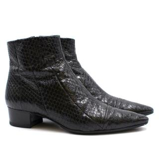 The Row Black Snakeskin Ankle Boots