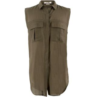 Helmut Lang Khaki Sleeveless Shirt