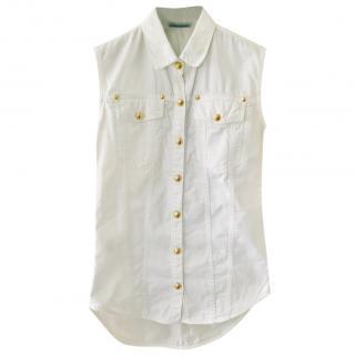 Balmain White & Gold Classic Vest