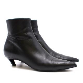 Balenciaga Leather Kitten Heel Ankle Boots