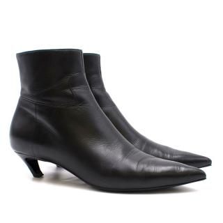 Balenciaga Leather Kitten Heel Ankle Boots