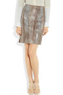 Reed Krakoff Metallic-coated Python Mini Skirt