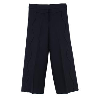 Issa Navy Scalloped Wool-blend Culottes