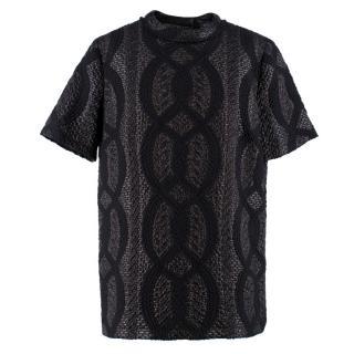 Lanvin Textured Wool-blend Metallic Patterned Top
