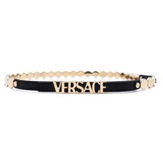 Versace Leather & Gold Coin 'Versace' Skinny Belt